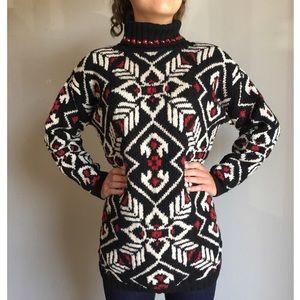 Vintage Turtleneck Aztec Sweater Oversized Floral